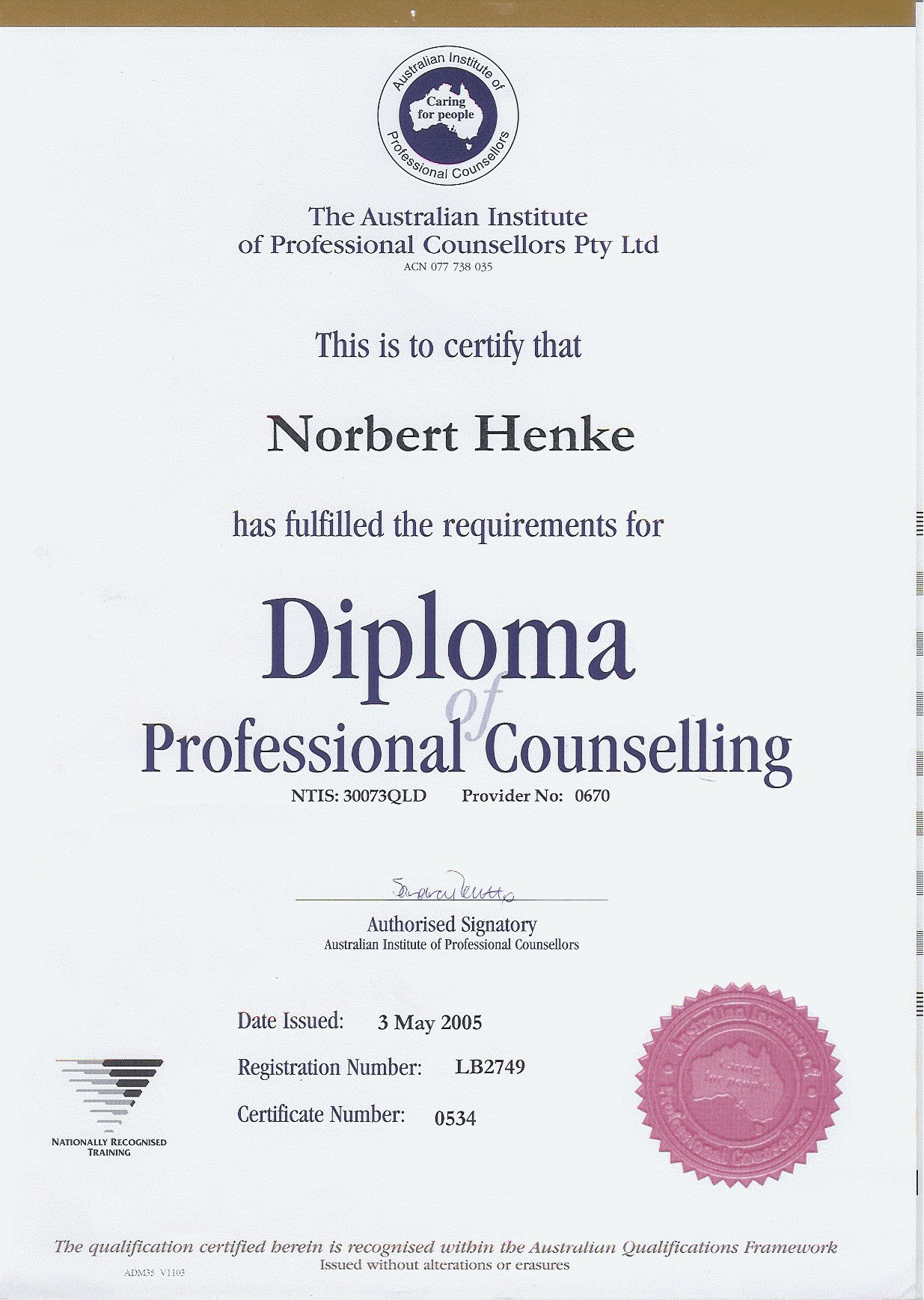 Diploma for Professional counselling