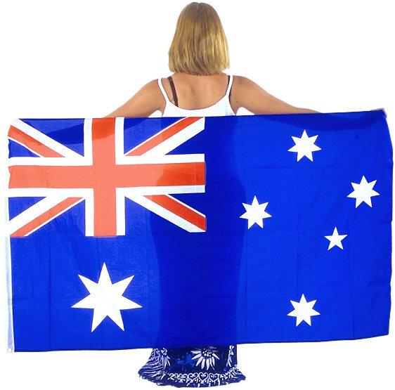 Australian woman with Australian flag