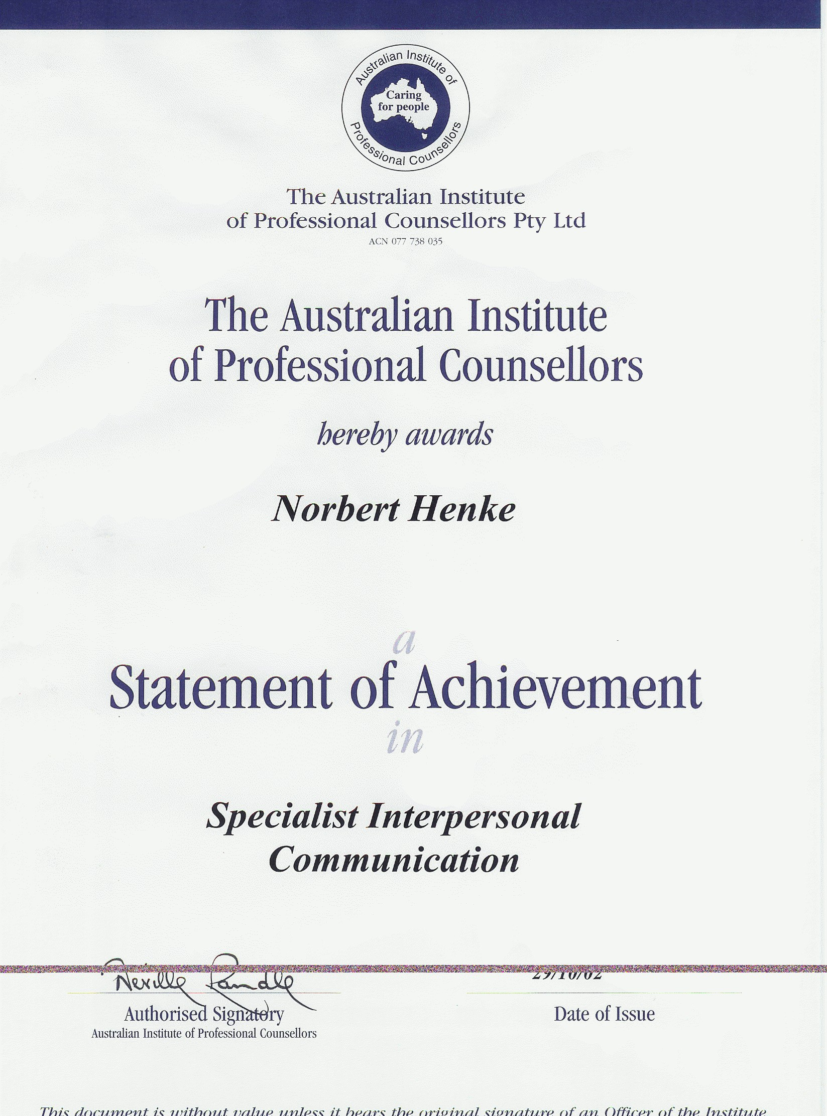 Tertiary Diploma of Professional Counselling