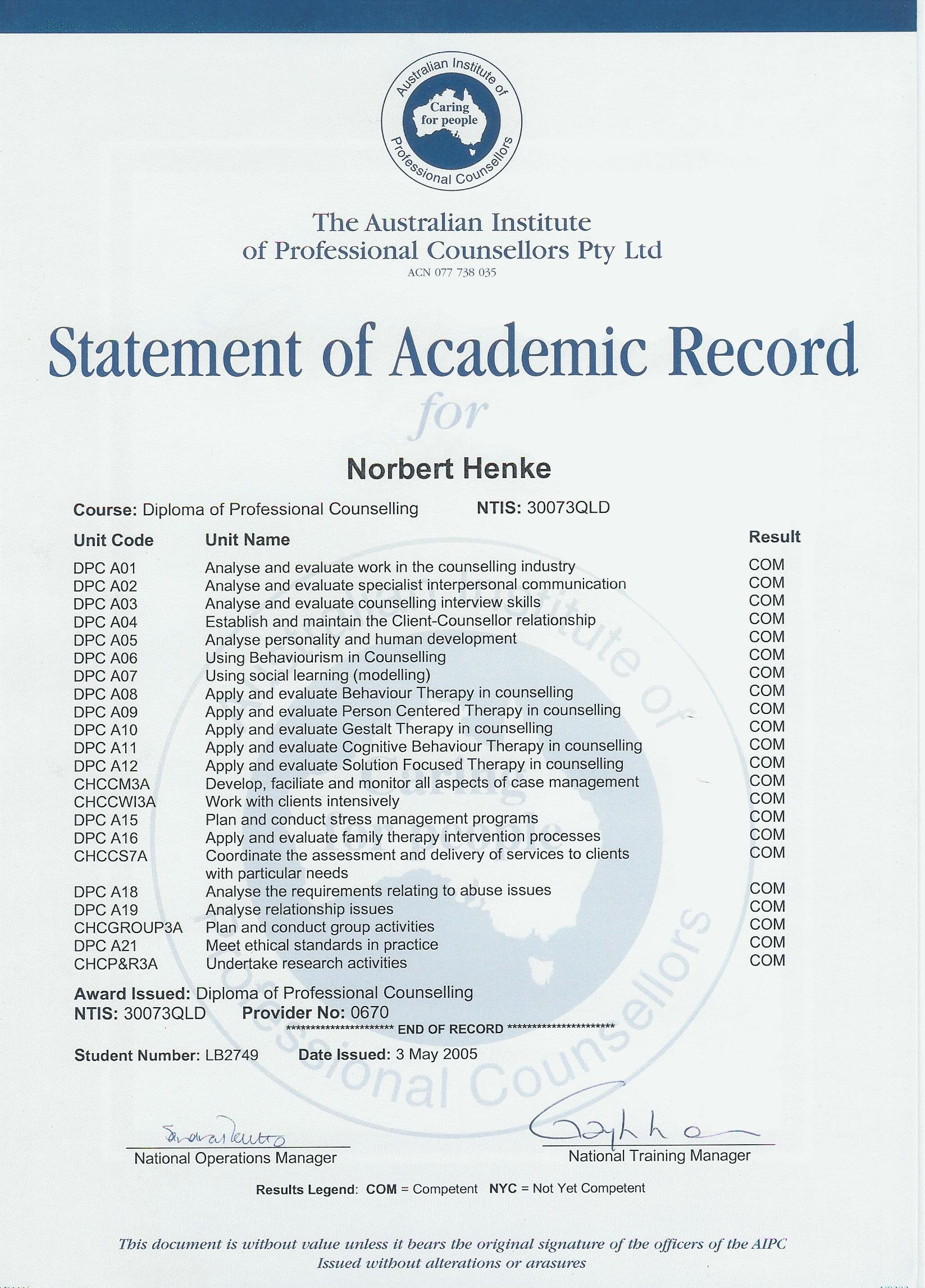 Academic Records